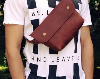 Leather crossbody bag, leather waist bags, Leather belt bag, fanny pack, men's belt bag, handmade belt bag, festival bag leather, travel bag
