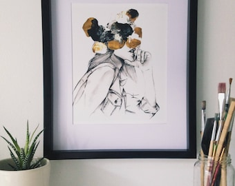Semi Abstract PRINT, giclée, female denim portrait, originally made with acrylic paint and charcoal pencil, black, white, gold