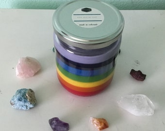 Rainbow Candle, Chakra candle, ROYGBIV candle, Soy candles, natural Candle