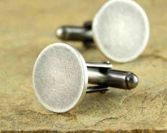 Silver cufflinks, sterling silver cuff links, Ready To Ship! Rustic finish, round cufflinks, gifts for men.