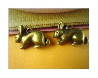 4 BUNNY RABBIT Very Large Charms Pendants Bronze Tone 3 D Well Crafted Spring Easter Wildlife Jewelry Craft Supplies 25x19x8 mm