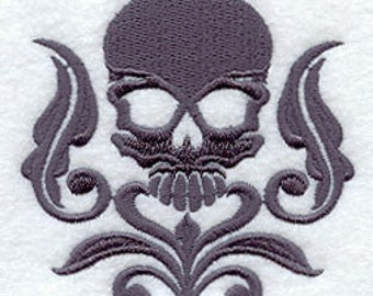 Damask Skull Embroidered Flour Sack Hand/Dish Towel