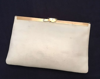 Etra White Leather Clutch
