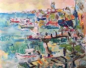 Coast and cove Painting, Seaport, harbor and cove, sailboats and ocean, original expressionist art, Russ Potak