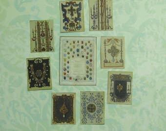 Dollhouse Miniature Gemstone Chart and Jewlery Illustrations Set
