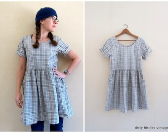 90s LINEN Babydoll Dress | Grey Plaid Dress with Pockets | Minimal Mini Sun Dress Short Sleeve Modern Vintage Natural Dress Womens XS Small