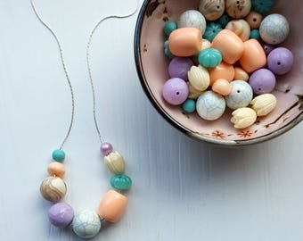 painting eggs necklace - vintage lucite - spring necklace - tulip peach aqua lavender - easter, flower, teal green, purple, pearl