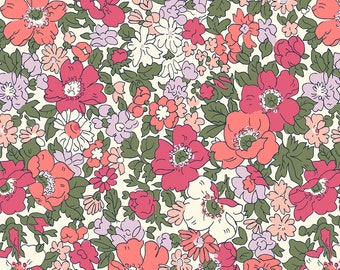 Liberty The Cottage Garden Cosmos Meadow Pink Fabric - Liberty 100% Cotton Quilting Fabric