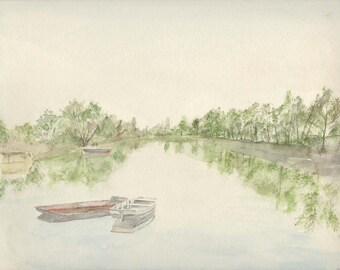 Boats on a quiet river