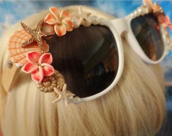 BAMBOO FRAMES I'm Really A MERMAID Sunglasses Sun Glasses Sunnies Wayfarers Aviators Little Shells Im Beach Sea Ocean Nautical Pinup A041