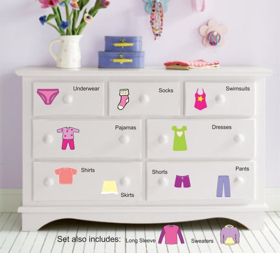 Dresser clothing decal labels girls dresser labels