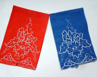 Madeira Floral Towel Pair Red Blue Applique Hand Work Wedding Anniversary Birthday Bridal Collector Christmas Gift for Her Vintage