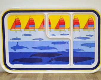 Vintage Nautical Theme Food Trays Oneida 1987 Compartments Whales Sailboats Ocean Set of Three