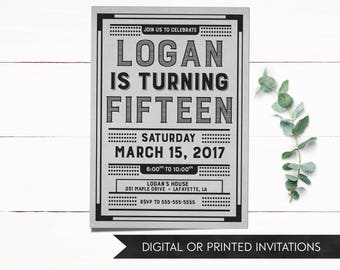 Teen Boy Invitation, Boy Birthday Invitation, Boy Invitations, Teen Invitation, Teen Birthday Invitation