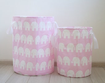 Toy basket, Laundry basket, Toy storage, Nursery fabric basket, Pink and white, Elephants prints