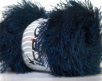 Navy Blue Eyelash Yarn Ice 22735 Eyelash 100gr Navy Midnight Blue Fun Fur for Shawls Scarves, Faux Fur Trim, Plush Toys, Rugs, Fiber Jewelry