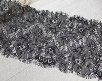 3 Yards Black Chantilly Lace Fabric Trim 15.5 cm wide