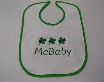 Irish Embroidered Baby Bib -  McBaby or O'Baby with Shamrocks