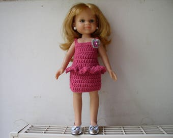 paola reina doll dress with ruffle crochet pink