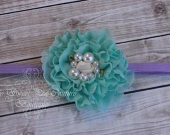 Aqua Ruffle Chiffon Flower Headband- Aqua Headband- Chiffon & Pearl Headband- Newborn Headband- Headband- Flower Girl- Photo Prop