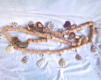 Handmade Natural Wood Spools and Natural Shell Garland with Crystals and Tassels Handmade Nautical Home and Living Display Garland Decor