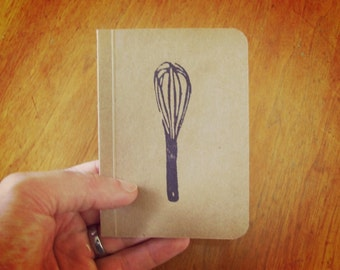 Whisk Notebook, Cooking Journal, Original Handmade Mini Diary and Jotter, Recipe Notebook, Cooking Notebook