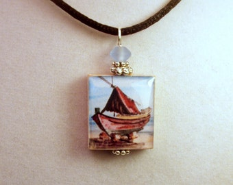 Boat / Beach / Seaside Nautical Pendant / Handmade SCRABBLE Jewelry / Beaded Charm