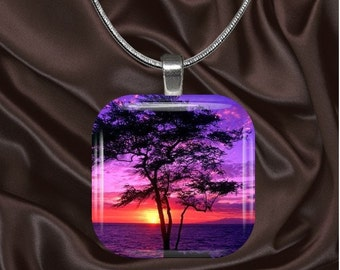 Sunset with tree Glass Tile Pendant with your choice of chain included(light3.1)