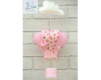 pink nursery, hot air balloon decoration, hanging mobile, hot air balloons, crib mobile, nursery decor, gifts for baby, gifts for girls