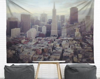 San Francisco Hanging Wall Tapestry, Home Decor, Dorm, California, Downtown, Photography, Architecture, Skyline Photo, Headboard Tapestry