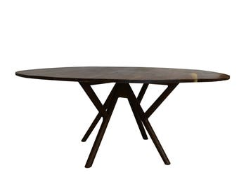Maverick Dining Table, 48 Inch ROUND Solid Walnut Mid Century Modern Base