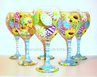 Easter Eggs and Daisie's Hand Painted Wine Glasses Set of 6 / 20 oz. Red Wine Goblets Daisy Pastel Colors Blue Yellow Green Pink Lavender