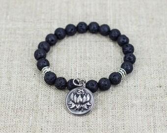 Lotus bracelet Om bracelet Diffuser bracelet Buddhist bracelet Mala bracelet Lava stone bracelet Reiki healing Yoga jewelry Mantra bracelet