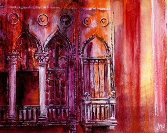 Rain Washed - limited edition print / Venice print / from an original acrylic painting / by D Y Hide