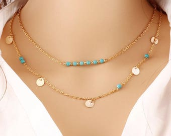 Gold or Silver Multi-strand Two Layered Silver Disc and Turquise Beaded Style Necklace