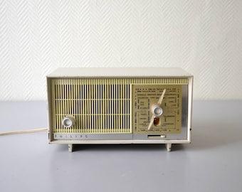 Vintage PHILIPS B1F20U Tube Radio / Mid Century radio station 60s