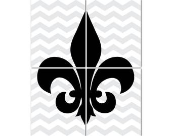 French Fleur de lis Modern Wall Decor - Gallery Wrapped CANVAS - Teen tween wall art - French themed art - four ready to hang CANVASes