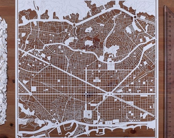 Paper cut map Barcelona, 12×12 In. Paper Art IDEAL GIFTS