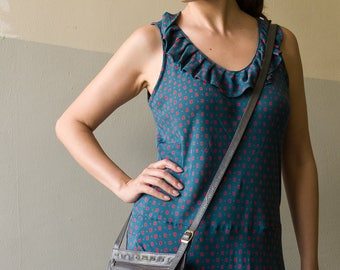 Travel Pouch, Leather Crossbody Bag, Small Crossbody Bag, Travel Crossbody Bag, Gray Leather Bag, 501-502