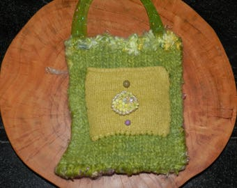 Hand Knit Green Mustard and Lavender Hand Knit and Felt Bag - Spring Curls