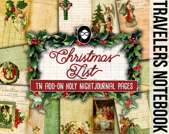 Fauxdori Inserts - Christmas List - AddOn - Holy Night Journal Pages - 8 Printable Midori Insert Pages - traveler notebook, junk journal kit