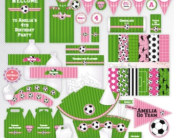 Pink soccer - editable printable party decoration package - INSTANT DOWNLOAD - A4 & LETTER