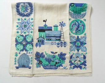 Vintage Tea Towel by Dorothy Sweet, Farm, Rural, Linen Towel, Linen Towel, Vintage Tea Towel, Towel Linen, Vintage Linen Towel
