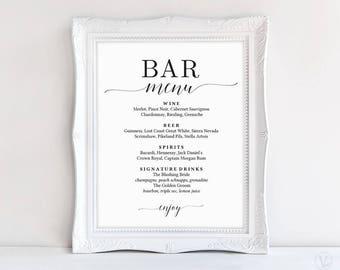 Bar Menu Sign, Printable Bar Menu Sign Template, Wedding Bar Menu Sign, DIY Printable Wedding Sign