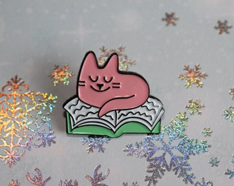 Book Cat Enamel Pin - Lapel Pin - Cat Pin