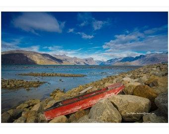Pangnirtung Waterfront with Red Boat