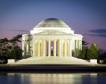 Jefferson Memorial Photo - Washington DC Print - Thomas Jefferson, DC Photography, Blue Hour, Art Print, Metallic Paper