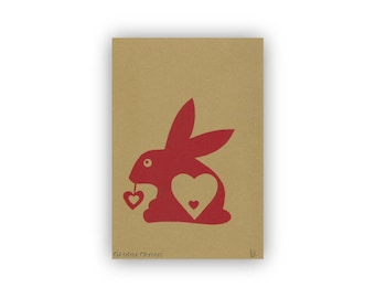 Red Valentine Bunny with Heart  Screenprint