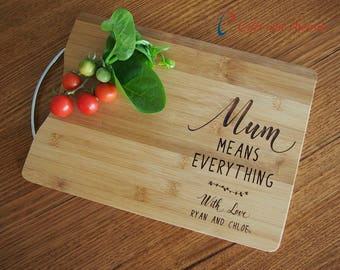 FREE DELIVERY-Personalised Engraved Bamboo rectangular cutting board S/S handle-Gift for Mum-Gift for Her-Birthday gift-Mum means everything