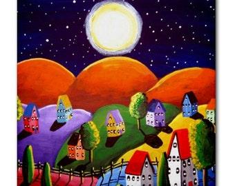 Orange Peace on Earth Landscape Whimsical Folk Art Ceramic Tile